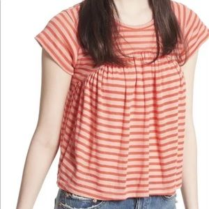 Free People Striped Red Top